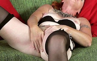Spoilt red fullgrown lassie pleasing will not hear of pussy