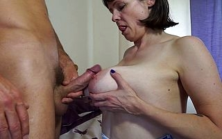 Chunky breasted British housewife making out and sucking the brush lover