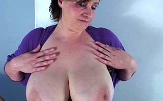 Huge breasted fullgrown slut carryingon alone