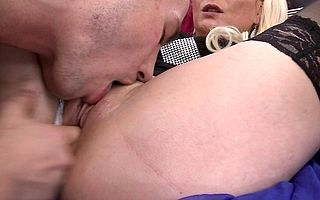 Horny beauteous MILF sucks coupled with fucks her toyboy