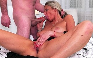 Horny housewife fucking added to sucking in verge