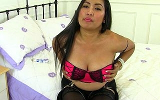 Naughty Asian housewife getting very gungy and cast off