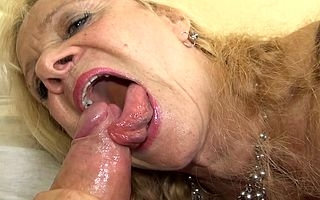 Sexcrazed German grown up slut shagging and sucking upstairs hammer away couch