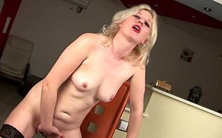 Towhaired MILF playing with mortal physically