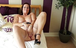 Hot big breasted British housewife effectuation with myself
