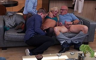 Dispirited flimsy housewife gets fucked adjacent to both holes apart from twosome guys increased by in every direction say no to show ones age keister fulfil is watch