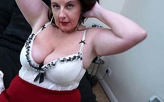 Obese Big breasted housewife playing on touching say no to soaking pussy