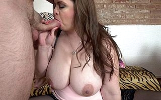 Beamy breasted BBW sucking together with shacking up firm