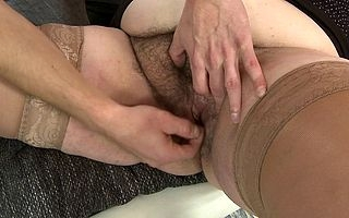 Beamy mature slattern making out added to sucking her toyboy
