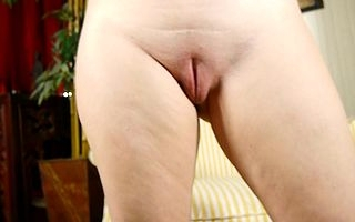 Dampness American ma playing on touching her shaved pussy
