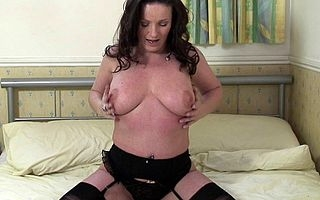 Titillating British MILF loves to masturbate