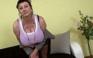 Hot housewife shows their way socking rack with an increment of masturbates