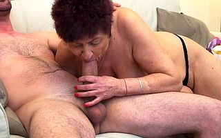Shaved matured old bag acquiring hellacious exposed to a hard cock