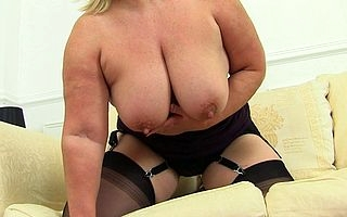 Chubby breasted housewife Lacey playing less herself