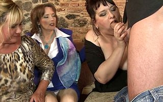 Duo lucky gay blade having coition near three stale housewives
