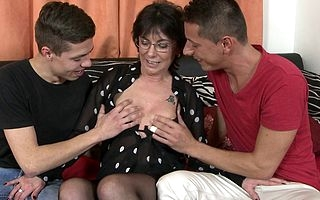 Horny mature old bag sucking and fucking several guys coveted