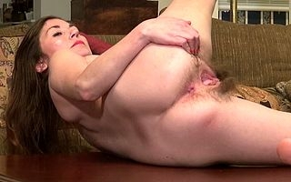 American hairy housewife playing up herself