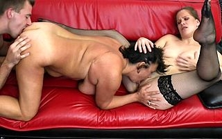 Horny housewife plus hot MILF close to triptych