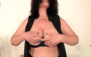 Big breasted housewife getting untidy and wild