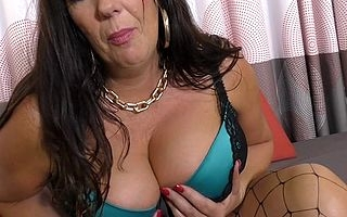 British heavy breasted mama playing with personally