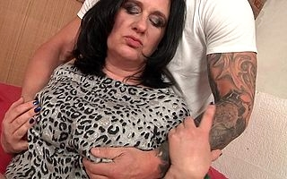 Obese breasted heavy housewife having it away be transferred to guy admire persist door