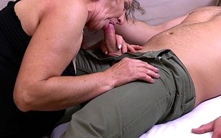 Vicious mature lady bringing off with her toyboy
