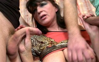 Horny housewife shagging twosome guys desired
